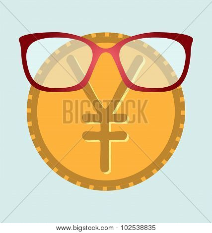 Glasses And Gold Yen Dollar