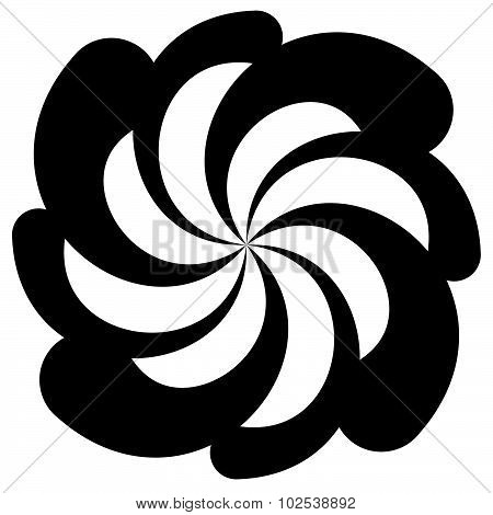 Abstract Spirally Shape, Motif. Vector. Twirling, Curved Radiating Lines.