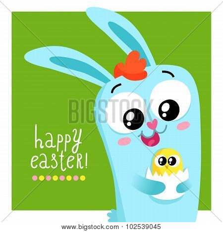 Easter Greeting Card Template With Bunny Holding Egg