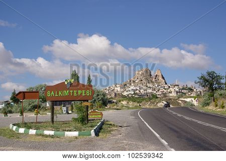 Uchisar Village And Uchisar Castle In Cappadocia, Turkey