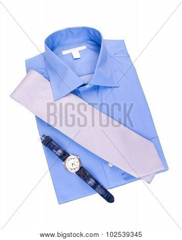 Blue shirt with tie and watch