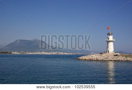 Lighthouse In Alanya In Turkey In Summer Day