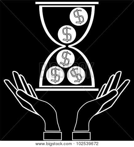 Hourglass, Dollar Coins In Hands