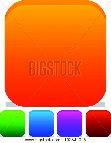 Empty Rounded Icon, Button Backgrounds With Different Level Of Roundness. Orange, Green, Blue, Purpl