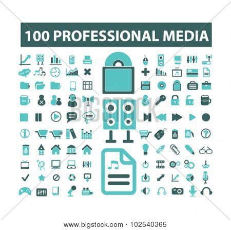 100 professional media icons