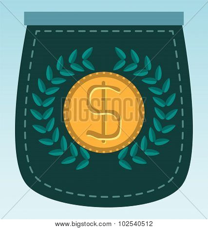 Laurel Wreath With Dollar Currency Coin
