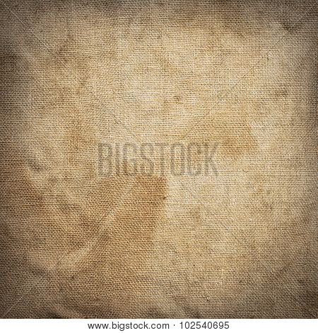 Old dirty brown creasy square burlap texture