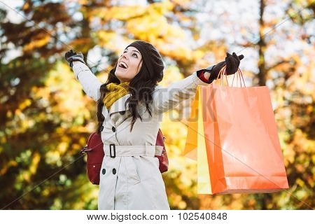 Woman Shopping In Autumn