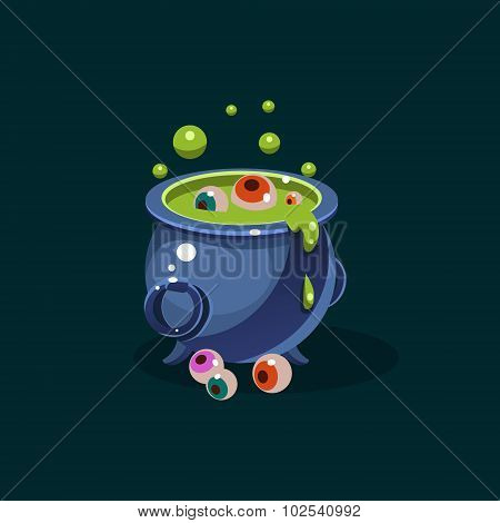 Vector black witches cauldron with green potion and eyes