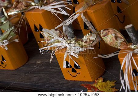 Little Wooden Pumpkins