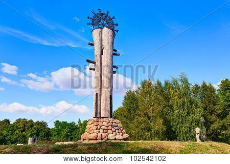Ancient sun clock (sundial) on the hill