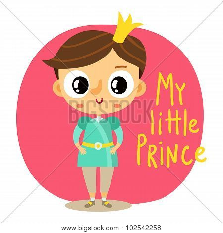 Prince, Little Boy, Cartoon Character On Pink Background