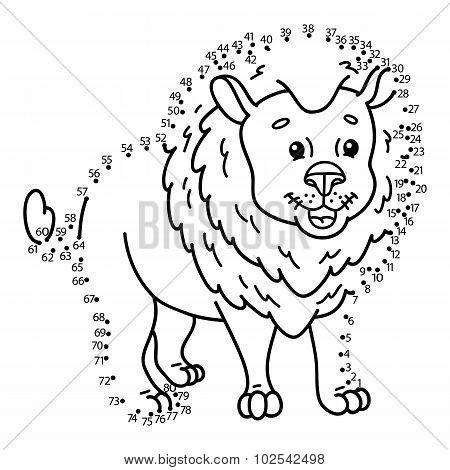 dot to dot lion game.
