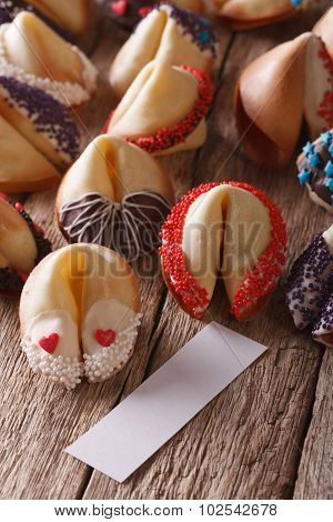 Fortune Cookies Decorated With Candy Sprinkles Close-up. Vertical