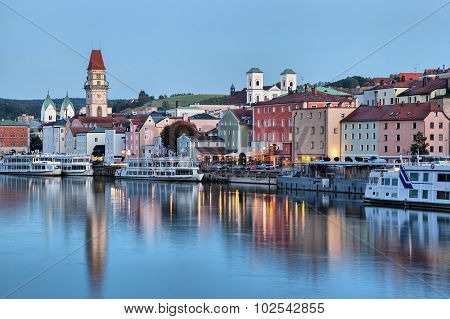 Passau Skyline In The Evening