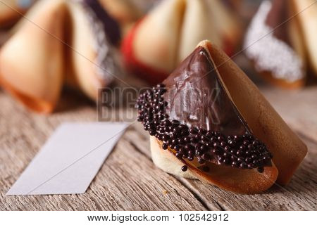 Fortune Cookie Decorated With Chocolate Close-up. Horizontal