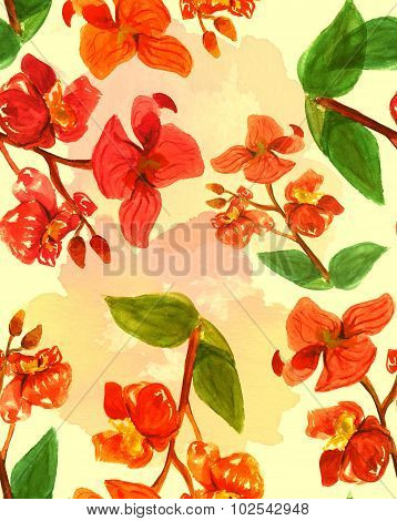 Seamless watercolour orchids pattern, golden-toned, with watercolor stains in the background