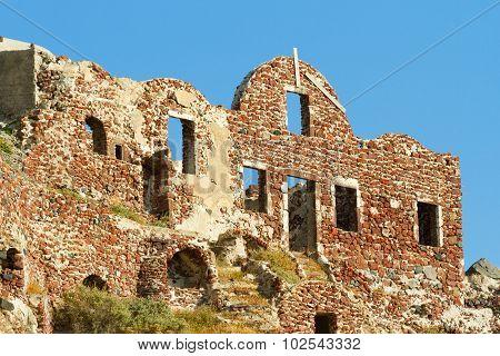 Ancient Castle Ruins In Oia, Santorini