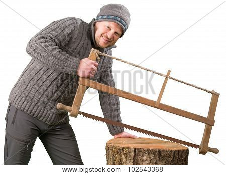 Man working with hand saw