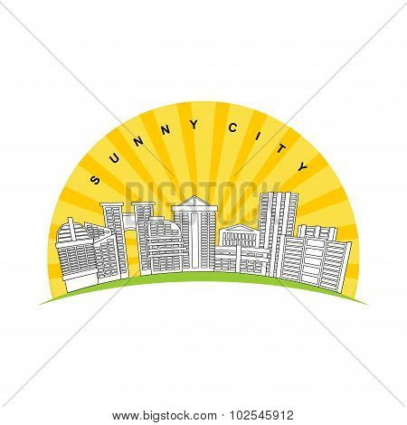 Sunny City. Logo For New Modern Prestigious District City. Skyscrapers And Buildings On Background O