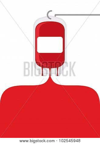 Blood Bag. Blood Donation Transfusion Bag. Blood Poured Out Of Bag. Place For Text. Medical Vector I