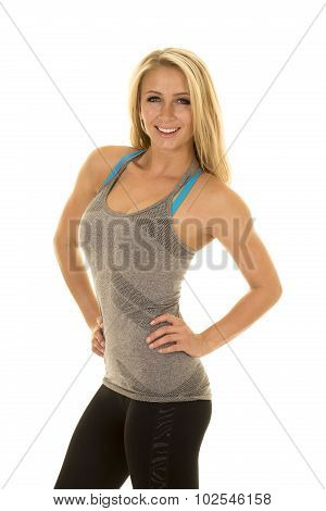 Blond Woman Gray Tank Top Hands On Hips Smile