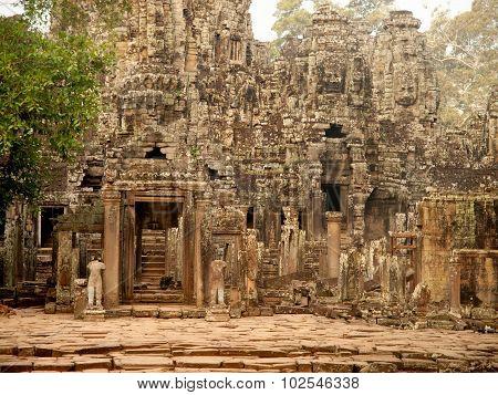 Details Of Stone Carvings At Bayon Temple , Angkor Wat, Cambodia