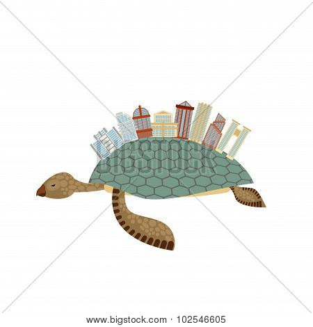 City On Turtle. Building On Animal Reptiles. Fantastic City. Vector Illustration Towers, Arches And