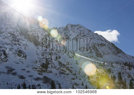 Wintry Mountain Landscape In Austria