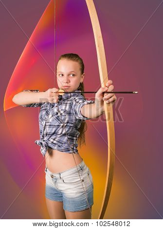 Teen girl practicing archery on abstract background