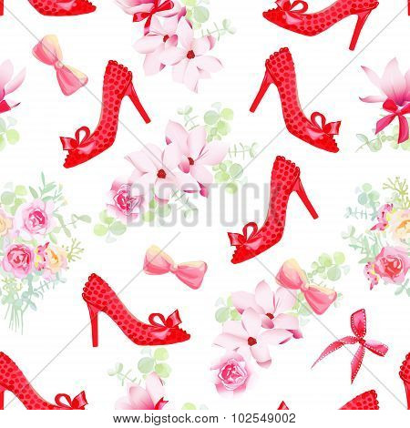 Female Fashion Shoes With Flower Bouquets Seamless Vector Pattern