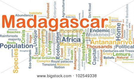 Background concept wordcloud illustration of Madagascar
