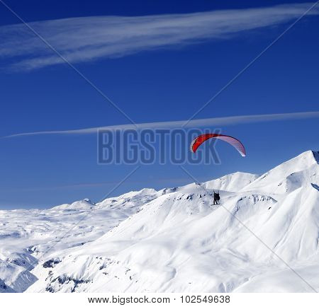 Sky Gliding In Snowy Mountains At Nice Sun Day