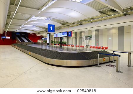 PARIS - AUGUST 08, 2015: baggage area in Orly Airport. Paris Orly Airport is an international airport located partially in Orly and partially in Villeneuve-le-Roi, 7 NM south of Paris, France