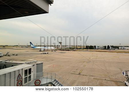 PARIS - AUGUST 08, 2015: view from terminal of Orly Airport . Paris Orly Airport is an international airport located partially in Orly and partially in Villeneuve-le-Roi, 7 NM south of Paris, France