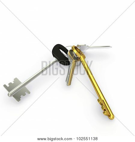 A Bunch Of Big And Small Door Keys With One Gold