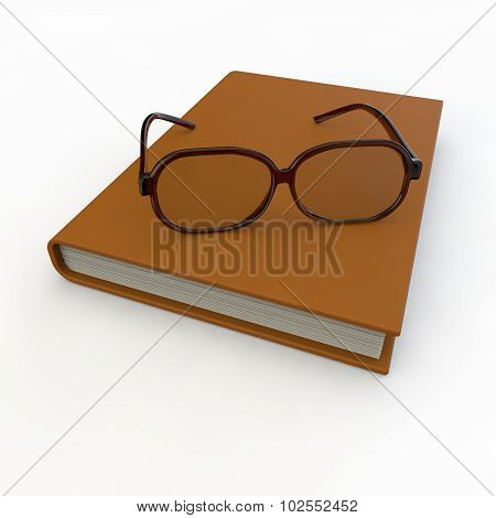With Brown-rimmed Glasses Lie On A Notepad