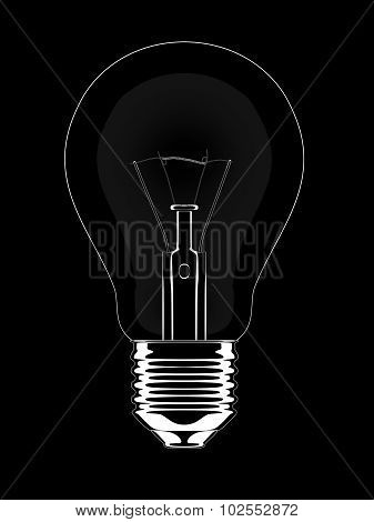 White lightbulb line graphic isolated on a black background.