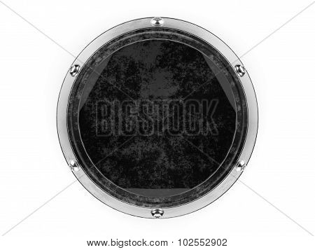 Glass and metal circle graphic element isolated on a white background.