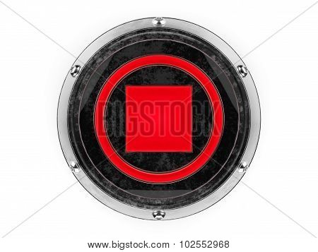 Glass and metal circle stop symbol graphic element isolated on a white background.