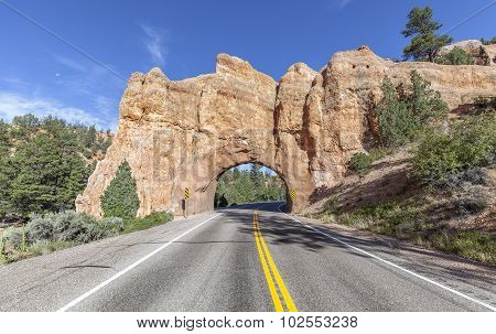 Natural Arch Road Tunnel On The Scenic Byway 12, Utah, Usa.