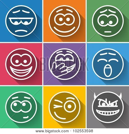 Set Line Circle Smiles