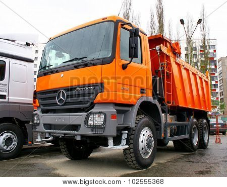 UFA, RUSSIA - MAY 11: Modern dump truck Mercedes Actros 3336 exhibited at the annual Motor show