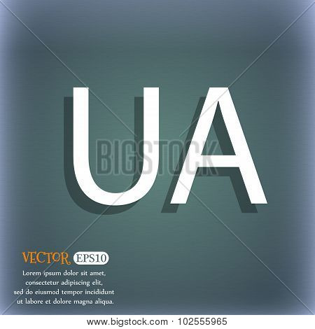 Ukraine Sign Icon. Symbol. Ua Navigation. On The Blue-green Abstract Background With Shadow And Spac