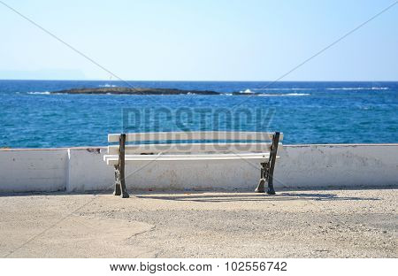 Bench On The Coast Of Aegean Sea.