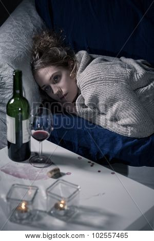 Depressed Woman Drinking Wine