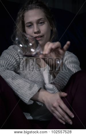 Drunk Alcoholic Woman Holding Glass