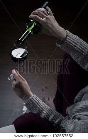 Filling Glass With Wine