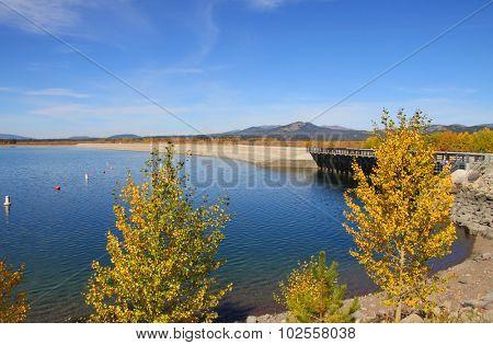 Scenic Jackson lake in Wyoming