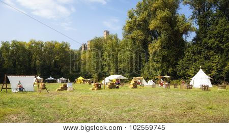 Playback of a medieval camp. Color image